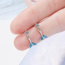 Mermaid Dolphin Dangle Earrings Cubic Zirconia Whale Tail Earrings Women Jewelry