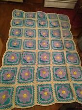 Vintage Hand Made Granny Square Crochet Afghan Throw Blanket Raised flowers