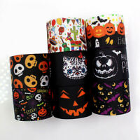 1Yard Halloween Pumpkin Skull Ribbon Thermal Transfer Grosgrain Gift Wrap DIY