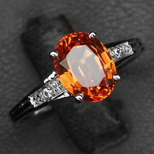 Sapphire Orange Golden Oval 2.50 Ct. 925 Sterling Silver Ring Size 6.75 Gift