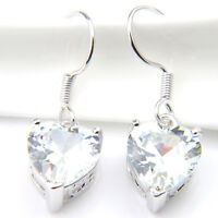 Natural Fire Topaz Gemstone SOlid Silver Woman Love Heart Dangle Earrings
