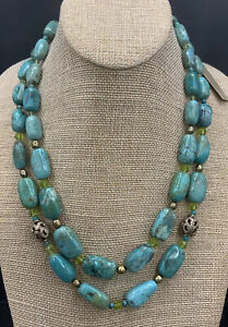 Barse Double Strand Opulence Necklace- Mixed Stones & Crystal- Bronze- NWT
