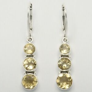 Genuine Natural Yellow CITRINE Earrings 925 STERLING SILVER Leverback #17