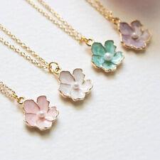Cherry Blossom Pendant Pearl Sakura Necklace Wedding Bridesmaid Jewelry