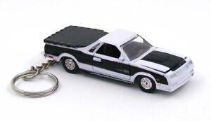 1986 Chevy EL Camino White & Black Chevrolet Key Chain Ring Fob Keychain
