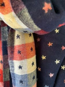Navy And Multi Reversible Scarf With Little Jacquard Stars