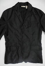 DKNY Jeans Nylon Zipper Front Blazer Sport Coat Black Rainwear Small