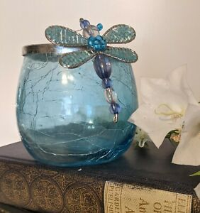 Blue Crackle Glass Votive Candle Holder w/ Glass Bead Dragonfly on Edge - CUTE!