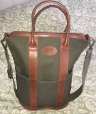 QP Collections Canvas & Leather Large Helmet Tote Bag Carryall in Olive-NEW