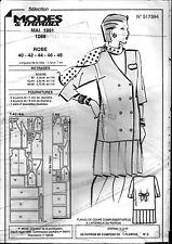 ▬► Patron Couture Modes et Travaux Robe T 40 42 44 46 48 Mai 1991