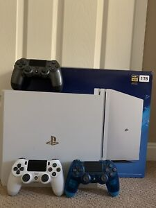 Sony PlayStation 4 Pro 1TB Glacier White Console With 3 Controllers Bundle