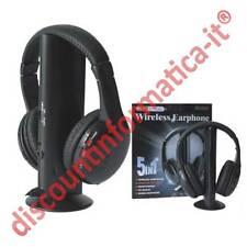 CUFFIE SENZA FILO 5 in 1 wireless Cuffia per Pc Tv Mp3 microfono TELEVISIONE