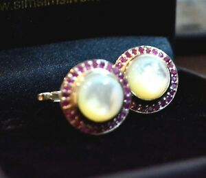 Natural Mother of Pearl and Ruby Gemstone Cuff-links in 925 Sterling Silver