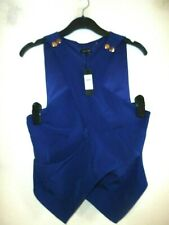 River Island royal blue sleeveless cross front top size 10 BNWT