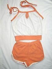 New listing Vintage 2piece Shorts Set Romper Terry Cloth Womens Orange & White 1970's Sz M