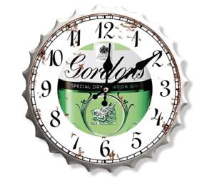 30cm Gordons Gin Beer Lager Pub Clock Retro Wall Display Sign Metal Bottle Top