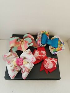 4 Hand Made Hair Bowes Pre Owned Good Condition ice cream unicorn pony red