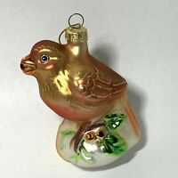 FITZ And FLOYD Blown Glass BIRD ON BRANCH Christmas Ornament BERRIES