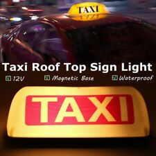 White 12V Taxi Cab Sign Roof Top Topper Car Magnetic Sign Lamp Light Waterproof