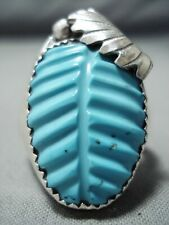 GORGEOUS ZUNI TURQUOISE STERLING SILVER RING NATIVE AMERICAN