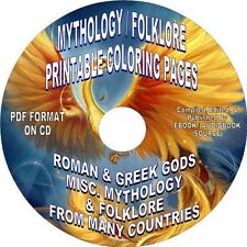 ROMAN & GREEK MYTHOLOGY - 400+ PRINTABLE COLORING PAGES ON CD FOR ADULTS-ALL AGE