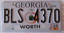 Georgia 2012 WORTH COUNTY License Plate NICE QUALITY # BLS 4370