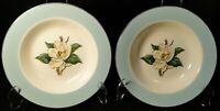 """Lifetime China Turquoise Magnolia Soup Bowls 8"""" Cavalier Salad Set 2 Excellent"""