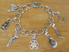 Cowboy/Western Charm Bracelet Silver-Tone Hat/Sheriff Badge/Horse Shoe/Boot 7""