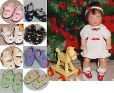 Doll Shoes, 24mm Heart Cut fit Kish Ellery, Tiny Betsy AGA Fry - LT GREEN