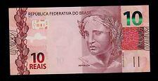 BRAZIL  10 REAIS  ( 2010 ) 2012 AA PICK # 254  UNC BANKNOTE.