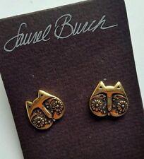 Laurel Burch Kitty Cat Face Post Earrings Gold Tone