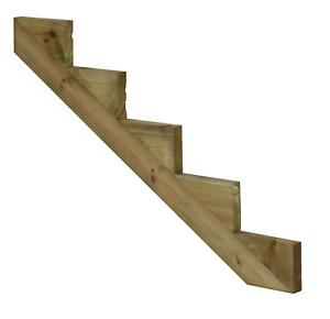 Treppenwange Treppenwangen 5 Stufen für Holz Treppe druckimprägniert Außen