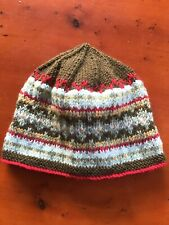 fairisle Hat Pure New Wool Olive Green With 5 Contrasting Colours