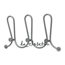 "Ikea Logga Wall Hanger 15"" with 3 Knobs Hooks for Coat Hat Scarf Rack Silver New"