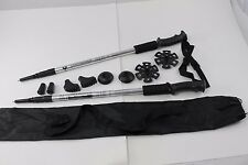 Two Trekking Walking Hiking Sticks Poles Alpenstock anti-shock Snowshoe Silver