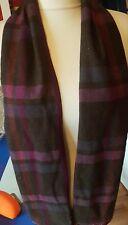 Earth Squared Fairtrade Green Pink & Grey Tartan Tweed Wool Scarf - VGC