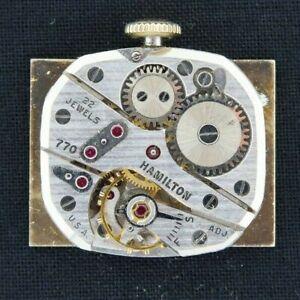 Vintage 770 Hamilton 22 Jewel Manual Wind Wristwatch Movement for Repair