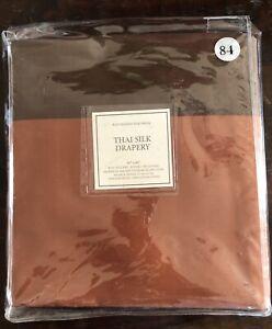 "RESTORATION HARDWARE Thai silk drapery 50x84"" curtain panel Copper Brown Persimm"