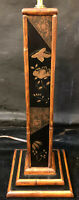 Vintage PALECEK Faux Bamboo Wood Asian Table Lamp Hand Painted Floral Brass