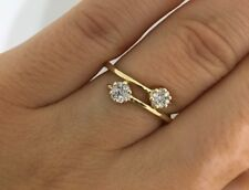 DOUBLE FLOWER CLUSTER DIAMOND BAND SIZE 4.75 14K YELLOW GOLD