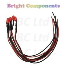 5 x Pre-Wired Red LED 5mm Diffused : 9V ~ 12V : 1st CLASS POST