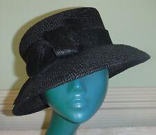 Chic Edwardian style Accessorize Noir Ouvert tissage paille chapeau Large Self Bow Cool