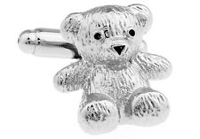 Teddy Bear Cufflinks Silver Smooth US Wedding Fancy Gift Box Free Ship USA