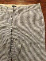 J.CREW Women's Size 0 City Fit Blue Seersucker Striped Capri Crop Pants
