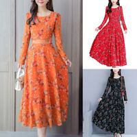 Women's Floral Long Maxi Dress Party Summer Beach Sundress Fashion