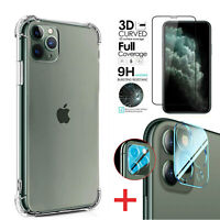 For iPhone 11 Pro Max Clear Case+Front+Camera Lens Tempered Glass Film Protector