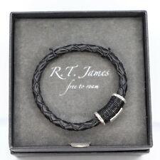 R.T. James Mens Silver-Tone Bracelet Black Leather Black ONE SIZE Bracelet