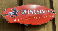 VINTAGE WINCHESTER PORCELAIN SIGN DOOR PLAQUE USA OIL GAS STATION RIFLE SHOTGUN