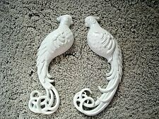 Vintage BURWOOD PRODUCTS 1979 White Birds Plastic Wall Plaques #2380 Set of 2