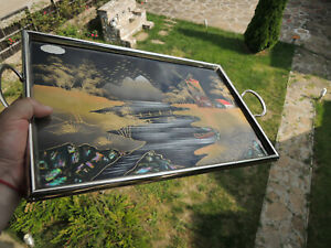 Art Deco hand-painted-mother of pearl -tray -motif - landscape